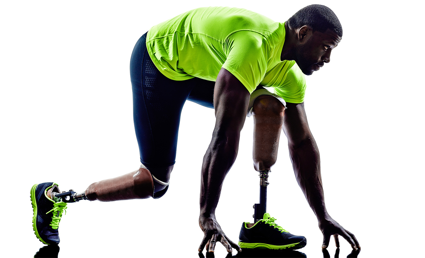Handicapped man joggers starting line legs prosthesis silhouette